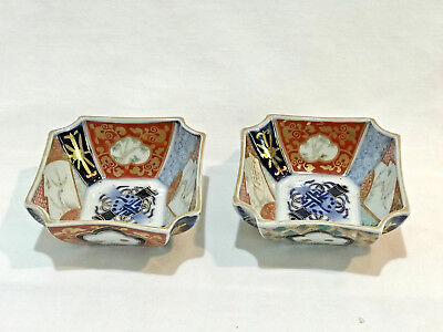 Pair of TWO Japanese Imari Porcelain Eight Sided Bowls