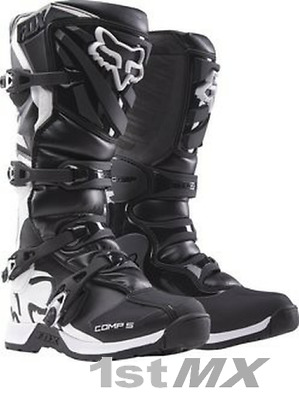 Fox Comp 5 Kids Motocross MX Offroad Race Boot Black White Youth UK3 US4