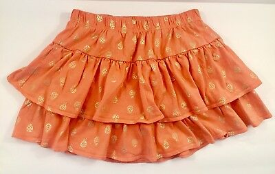 Gymboree Size 10 Skirt  Printed Peach Gold Ruffled Skort W/Elastic Waist