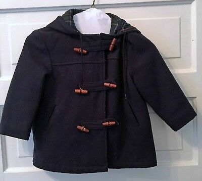 Vintage Wool Toddler Coat T4 Navy Blue Wooden Buttons Unisex Boys Girls