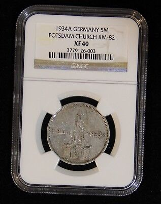 NGC XF45 1934-A Silver Five Reichsmark Church Coin w/Date Swastikas Rare Issue
