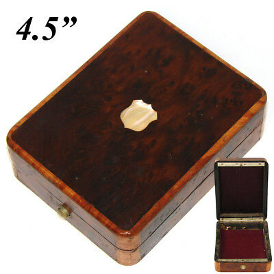 Antique French Napoleon III Pocket Watch Casket, Burled Box, Pearl Cartouche