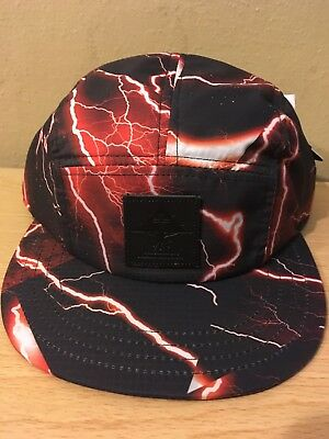 e727089bc19c3 LRG Brand New OSFM Lightning Print Black red Strapback Hat 100% Authentic  NWT