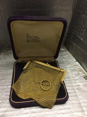 Beautiful Antique Vintage Gold Tone Mesh Chatelaine Coin Purse
