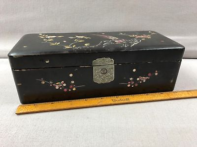 Antique Asian Black Lacquer Mother of Pearl Inlay Hinged Glove Box