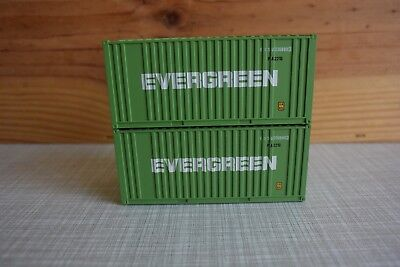 """2 x WALTHERS 20 ft. Container """"Evergreen"""" H0"""