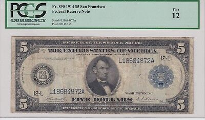 LARGE 1914 $5 DOLLAR BILL SAN FRANCISCO FEDERAL RESERVE NOTE Fr 890 PMG 12