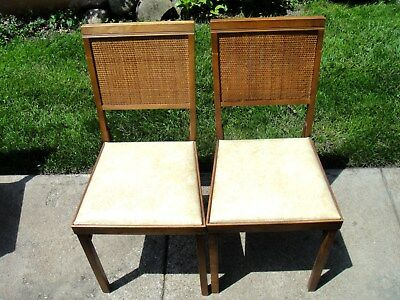 2 - 1960's LEG O MATIC Folding Chairs Cane Back Vinyl Seat Excellent Condition!