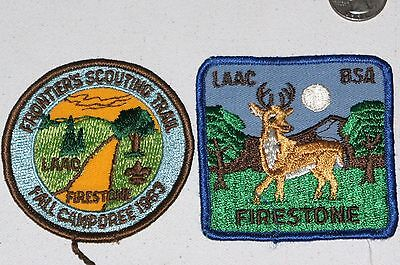 VINTAGE BOY SCOUTS of AMERICA 2 PATCH FIRESTONE LAAC FRONTIER BSA Vtg Camping
