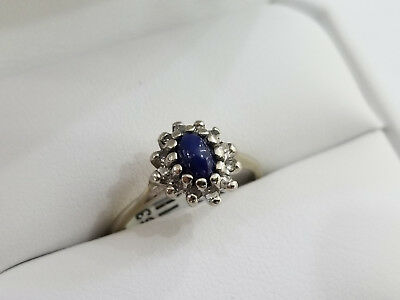 Antique Victorian 10K White Gold Star Sapphire Ring Size 7.25