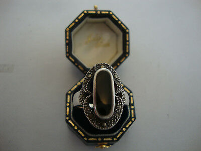 Modern old vintage antique art deco style silver ring marcasite onyx stone set