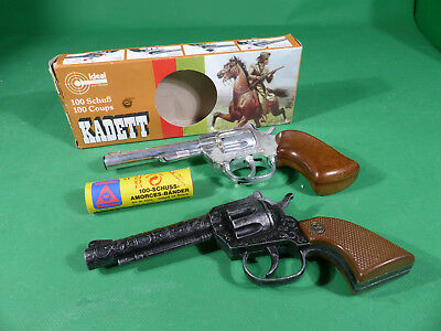 2x Schrödel Germany / Ideal Cap Gun Pistolen Kadett in Box + Sheriff