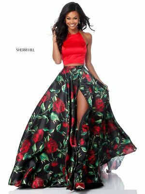 Sherri Hill Style 51870 Red and Black Print Prom Pageant Formal Dress NEW size 4