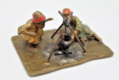 """Vintage Cold Painted Austrian Bronze Figural Group of 2 Arab Boys Around Fire 3"""""""