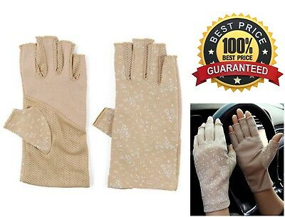 Sunblock Fingerless Stretchable Womens Gloves UV Sun Blocking Driving Protection
