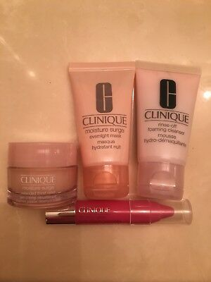 clinique FOAMING CLEANSER/moisture gel-creme/overnight mask/lip color balm