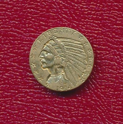 1914 $5.00 Indian Head Gold Half Eagle Coin **nicely Circulated** Free Ship!
