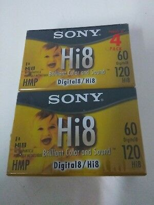 Sony Hi8 Camcorder 8mm Tape Cassettes 120 Minute 4-Pack