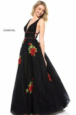 Sherri Hill Style 52047 Red/Black size 14 NWT Prom Pageant Dress!!!