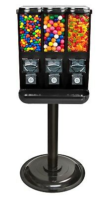 Triple-Head Candy Vending Machine With Stand Brand New Black