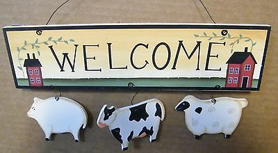 Country Kitchen  wood WELCOME Cow Pig Sheep saltbox house Decor Sign
