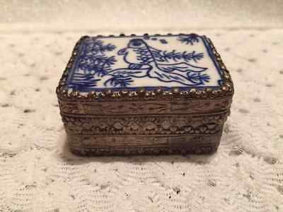 Blue & White Hand Painted Porcelain Trinket Box Silver Tone - Mirror inside Lid