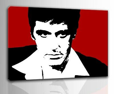 Quadro moderno dipinto a mano su tela Scarface pop art movies film pulp regalo