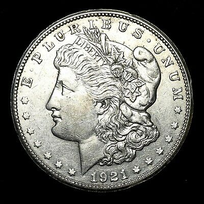 1921 S ~**ABOUT UNCIRCULATED AU**~ Silver Morgan Dollar Rare US Old Coin! #94