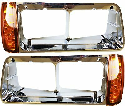 Freightliner FLD Headlight Bezel with 3 wires Led Turn Signal Lamp Light Pair