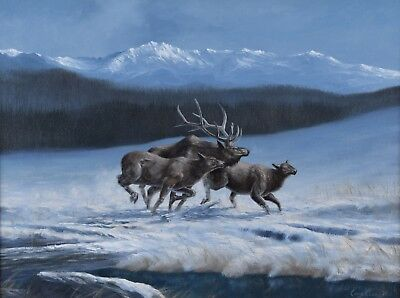 Chris MacClure Oil Painting Elk in Winter Snow Landscape Canadian Listed Artist