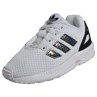 3a6ff20ec29d4 Adidas Originals ZX Flux EL Infants Toddlers Babies Classic Casual Trainers  Whit