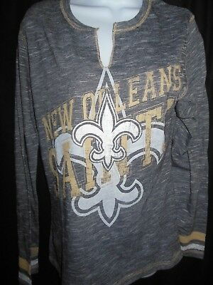4b34a98b8 New Orleans Saints Women's V Neck NFL Team Apparel Stone Wash Design L/S  Shirt