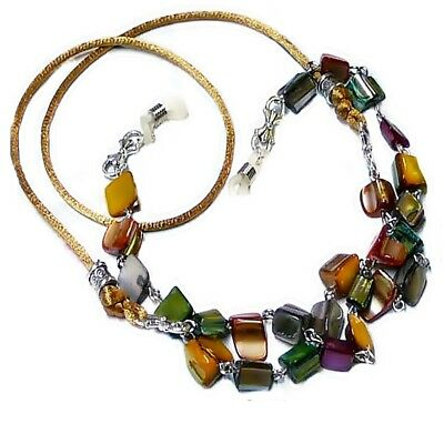 Reading eye glasses spectacle cord lanyard - Gold Autumn Tones Mother of Pearl