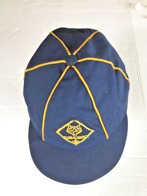 """Vintage Cub Scout Hat ball Cap-Blue w gold stripping Genuine SIZE 6 7/8"""" 1960s"""