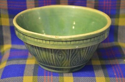 Vintage Green Glaze w/Barrel Board Pattern #6 Stoneware Bowl