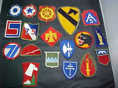 18 WWII US Army Patches. All Different
