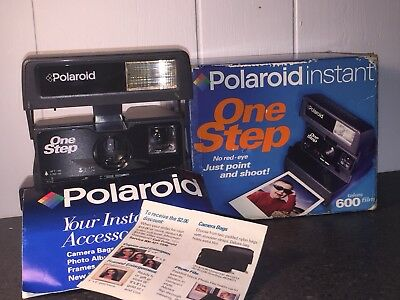Polaroid OneStep Flash 600 Instant Film Camera and Flash Tested Works w/ Box
