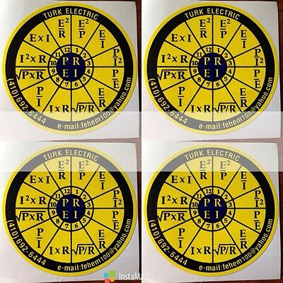 4X OHMS law sticker decal PEIR wheel for NEC CODE Book