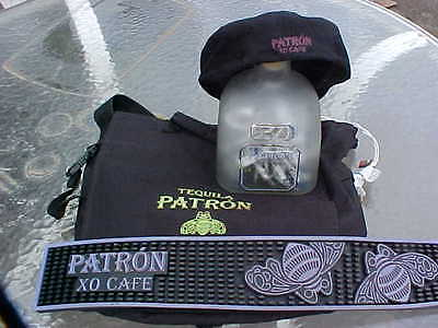 Patron Tequila XO CAFE 4 items bar spill mat flat cap hat backpack lit bottle