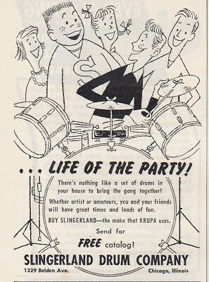1953 Slingerland Drum Company: Life of the Party Vintage Print Ad