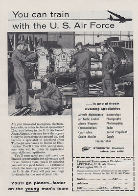 1955 US Air Force:  You Can Train Vintage Print Ad