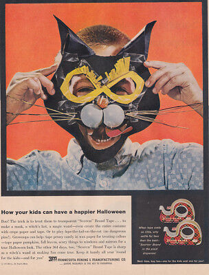 1961 3M Scotch Brand Tape: Have a Happier Halloween Vintage Print Ad