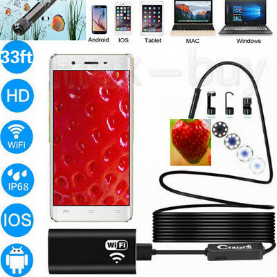 33ft WIFI Waterproof Endoscope Borescope Inspection HD Camera for iPhone Andriod