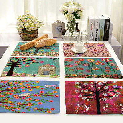 Happy Zero Insulation Cotton Linen Placemat Dining Coffee Table Mat Home Kitchen