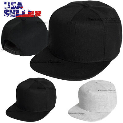 Baseball Cap 5 Panel Flat Hat Snapback Solid Plain Blank Hats Black Men  Women 4bb80207e137