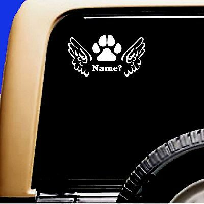 Dog Pet Memorial Vinyl Decal Sticker-  Angel Wings Paw ADD Name