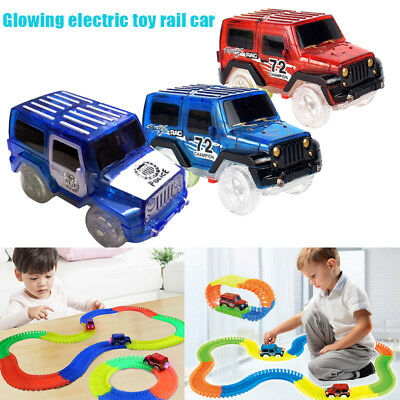 Child Toy Car LED Light Up Jeep Cars Glow in the Dark Racing Track for Kids