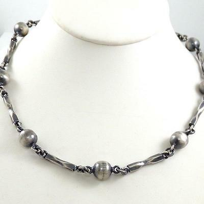 Vintage Sterling Silver Taxco Mexico Bead Ball Bar HEAVY 72 gram Necklace LQ6-G