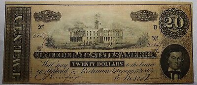 1864 Confederate States of America $20 Richmond 7th Issue-Bank Note Free Ship