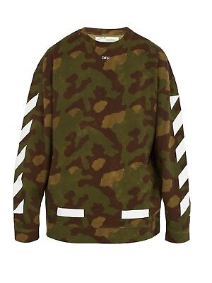 aba1aa46a331 Authentic OFF-WHITE Green Camo Printed Sweatshirt NWT SIZE S Pullover Cotton